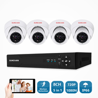 SUNCHAN 4CH CCTV System 1080N DVR 4PCS 1.0MP IR In/Outdoor Video Surveillance Home Security Camera System 4CH DVR Kit