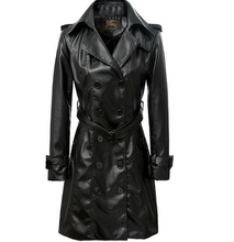 Double Breasted 2015 Fashion Slim Women Pu Leather Trench Coat With Belt Women Slim lapel Leather Long coat S-XL,F2376