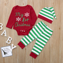 Infant Baby Boy Girl Christmas Outfits Set Romper Tops+Striped Pants+Hat Newborn Christmas Baby Boy Girls Outfit Sets Clothing(China)
