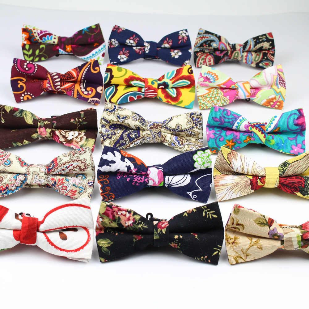 9787e22e5a3c Men's Cool Linen Printed Flower Rose Bow Ties Man Neck Bowtie Cashew Nut  Bowknot Gravatas Necktie