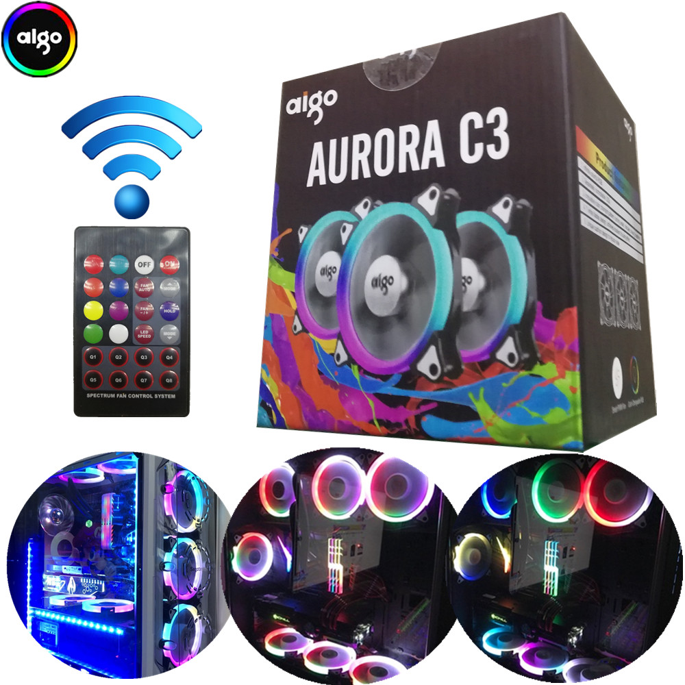 Aigo aurora c3/c5 computer case pc fan radiator fan rgb adjust led 120mm cooling cooler silent fan wireless remote controller