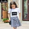LouisDog meninas camiseta de algodão de manga curta branco t gráfico tops adolescentes das crianças roupas de Verão tamanho 6-16yrs