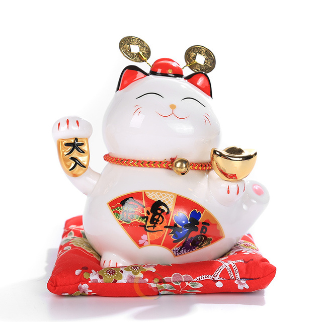 6 inch Maneki Neko Ceramic Lucky Cat Home Decor Porcelain Ornaments Cute Fortune Cat Money Box Fengshui Crafts 4