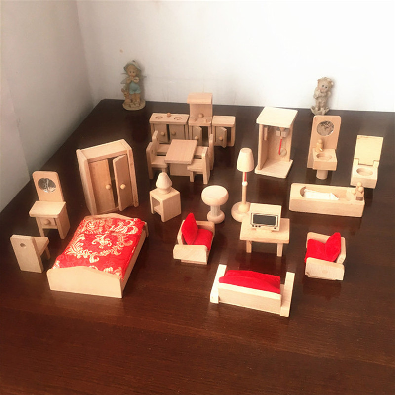 Image 5 - Miniature Furniture for dolls house Wooden dollhouse Furniture sets Educational Pretend Play toys Children kids girls gifts-in Furniture Toys from Toys & Hobbies