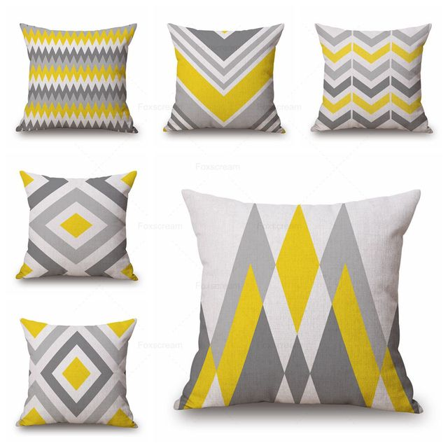 Geometric Decorative Pillows Covers Yellow Grey Cushions Triangle Cushion Cover Home Decor Linen Cotton Pillow Case