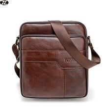 Première couche de cuir de vache hommes bandoulière sacs vintage petit en cuir véritable hommes messenger sacs casual hommes d'épaule sac D'ordinateur Portable