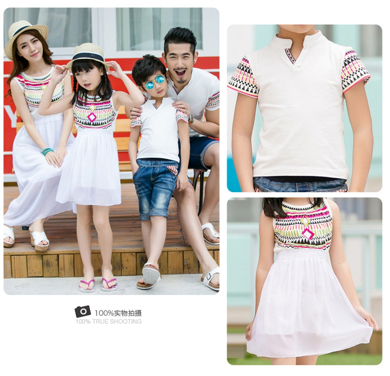 HTB1Pk5pfJbJ8KJjy1zjq6yqapXaN - Summer Family Matching Outfits Ethnic Style Mother Daughter Beach Dresses Father and Son White T-shirt Family Clothing Sets