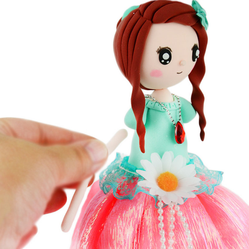 ФОТО 1 Piece Creative DIY Playdough Princess With Blue Dress Fimo Polymer Clay Material Package Toy For Children Clay Safe Non-toxic