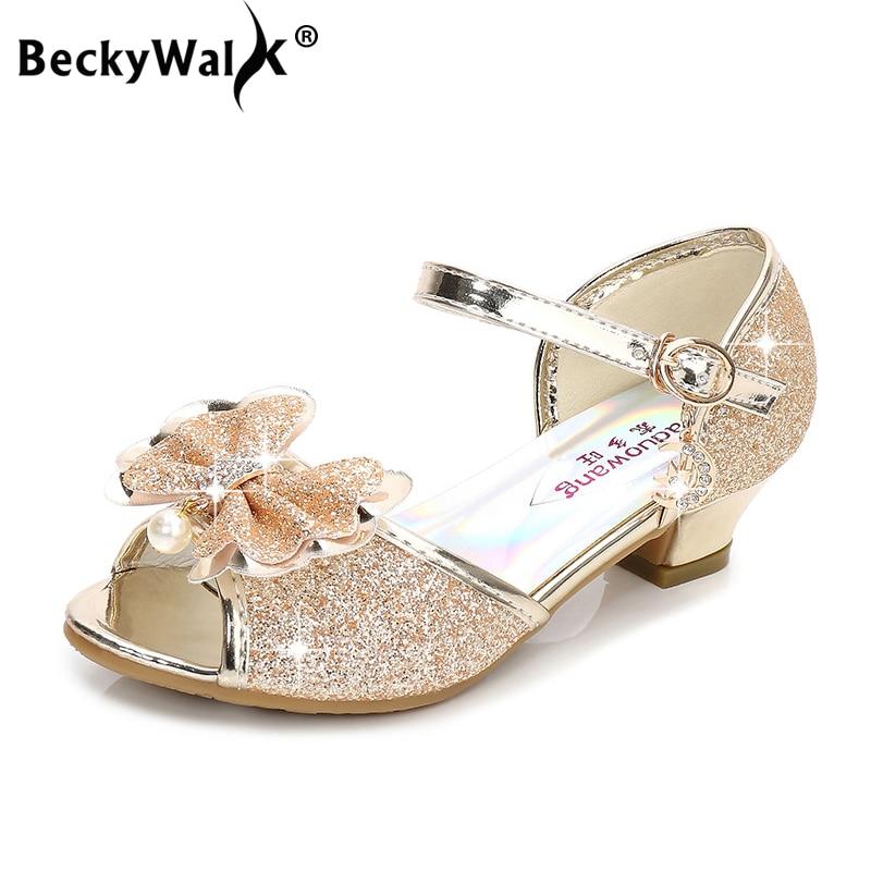 Summer Girls Sandals Peep Toe High Heels Children Party Shoes Fashion Butterfly-knot Princess Shoes Kids Sandals Glitter CSH811