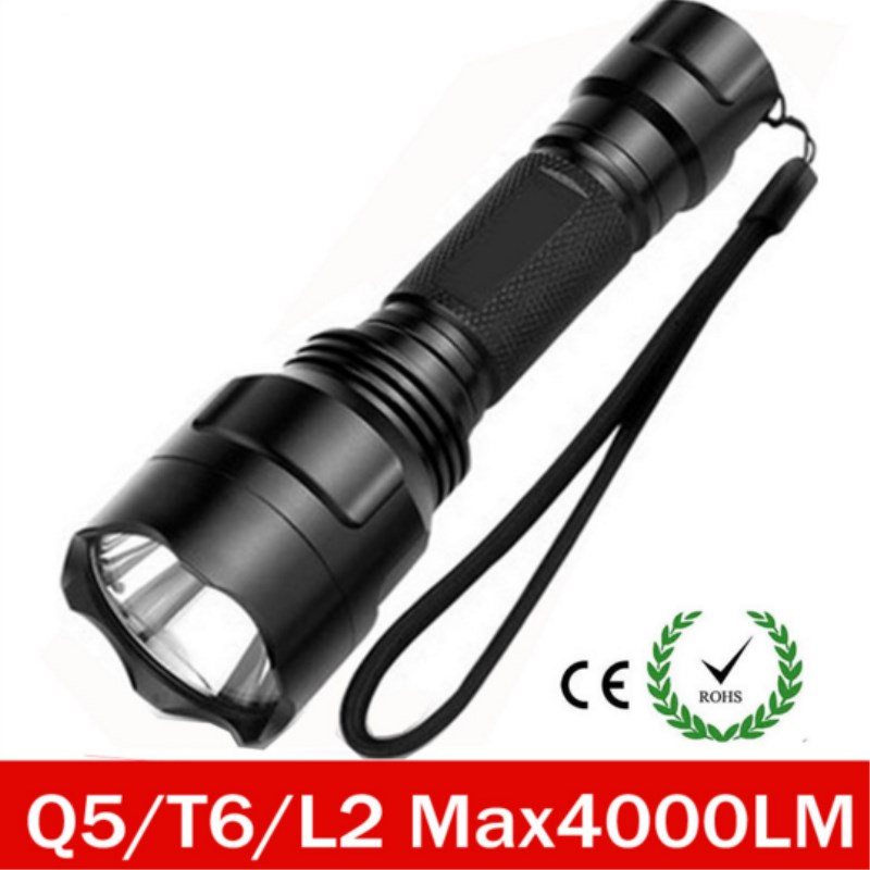 Super Bright LED XM- L2 U2 xml T6 Q5 Flashlight 5 Mode Flashlight Rechargeable Lanterna Flash Light Camping or Hunting 2018 new led flashlight xml t6 xml l2 q5 waterproof 18650 battery touch camping bicycle flash light z94