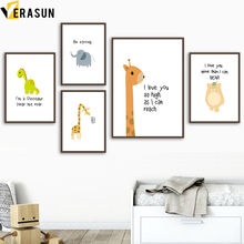 Cartoon Bear Giraffe Dinosaur Elephant Wall Art Canvas Painting Nordic Posters And Prints Pictures For Kids Room Home Decor