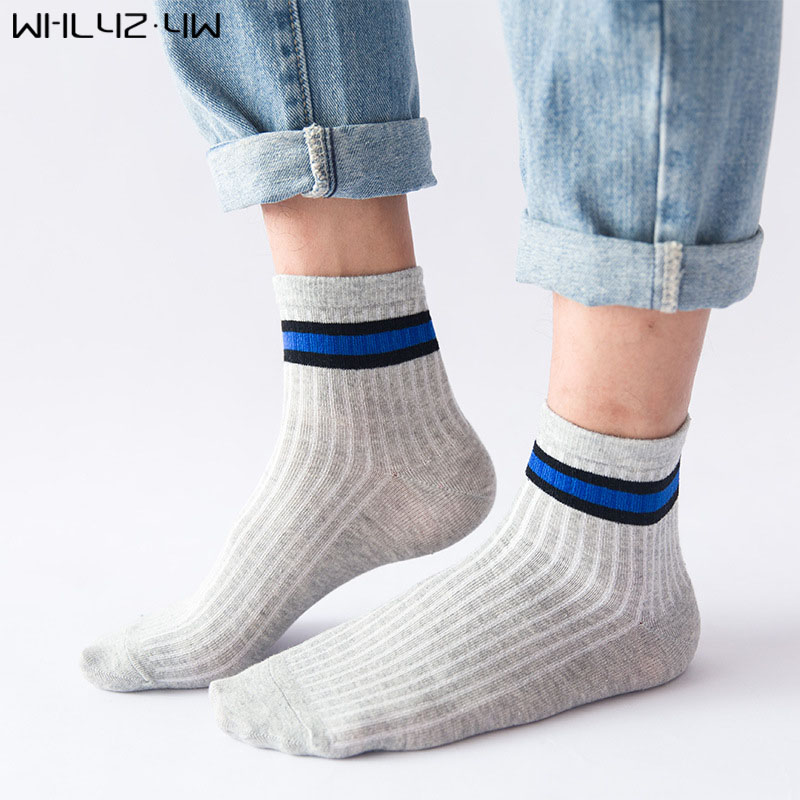WHLYZ YW cotton man harajuku happy funny socks striped mens business short socks