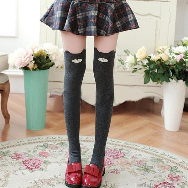 1 Pair Women Girl Cute 3D Cartoon Over Knee High Cotton Socks Animal Pattern