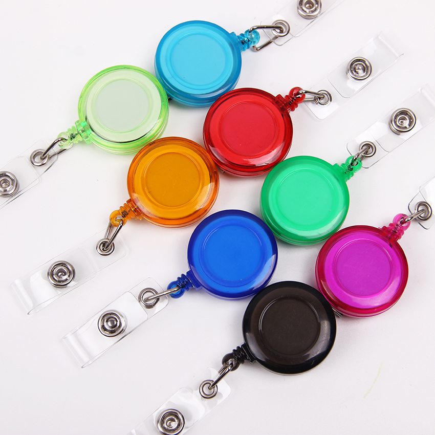 1PC 13 Colors Retractable Anti Lost Clip Buckle Security Card Badge Holder Reels Ski Pass ID Card Chain Ring Reels Clip