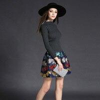 Европейские и Американские осень платья женщин новых осенью и зимой вязание стрейч-Жаккарда Тонкий линии платья