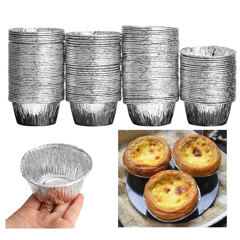 Hot Sales150pcs Disposable Aluminum Foil DIY Baking Tools Cookie Muffin Cupcake <font><b>Cheese</b></font> Egg Tart <font><b>Mold</b></font> <font><b>Round</b></font> Cooking Pastry Tools image