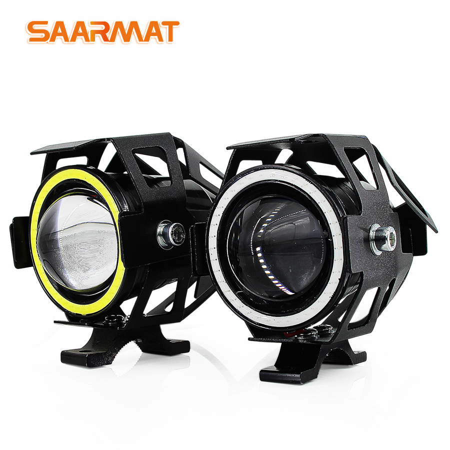 2x 125W U7 Store Motorcycle Angel Eyes Headlight DRL Spotlights Auxiliary Bright LED Bicycle Lamp Accessories Car Work Fog Light