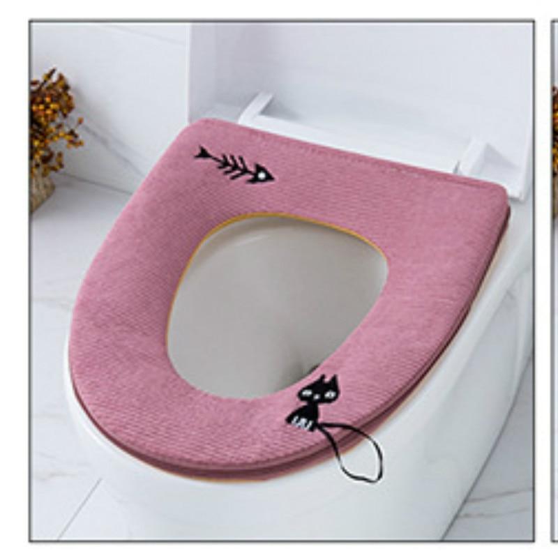 Bescheiden Soort Rits Kat Warme Zachte Toilet Seat Deksel Pad Handvat Cartoon Toilet Seat Cover Mat Badkamer Accessoires Katoen Leer Uitstekende Eigenschappen