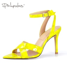 Купить с кэшбэком PinkPalms Shoes Women Summer Sandals Cross Strappy Toe Post Heel Women's Slingback Pointed Peep Toe High Heels Ankle Strap