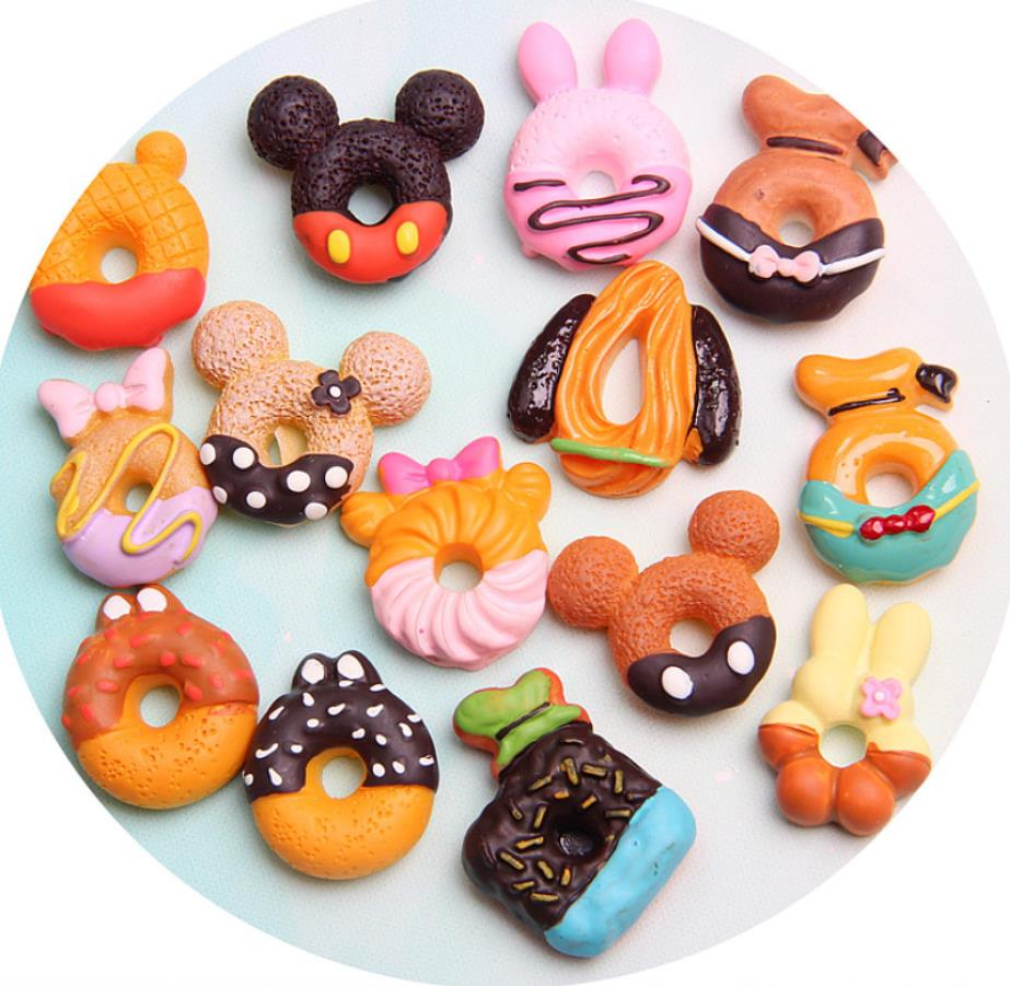 Wholesale Kawaii Mixed Food DIY Flatback Resin Cabochons Mickey Food Cakes Donuts Biscuit Miniature Kitchen Decoration