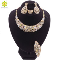 Exquisite Dubai Gold colorful Jewelry Set Brand 2019 Nigerian Wedding African Beads Crystal Jewelry Set For Women