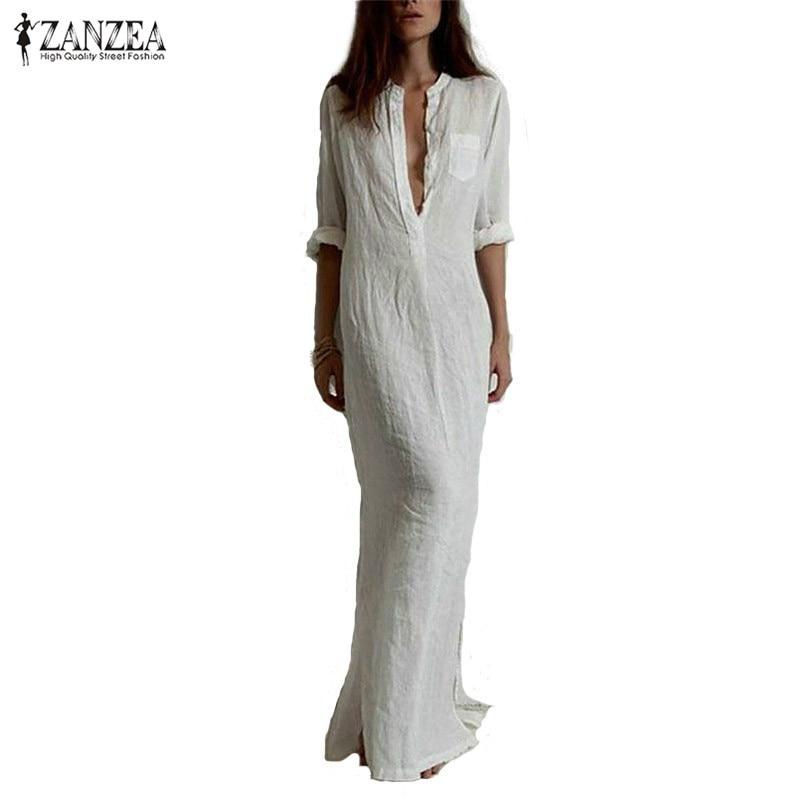 Zanzea Fashion Vestidos 2017 Autumn Women Sexy Casual Dress Long Sleeve Deep V Neck Linen Split Solid Long Maxi Dress Plus Size