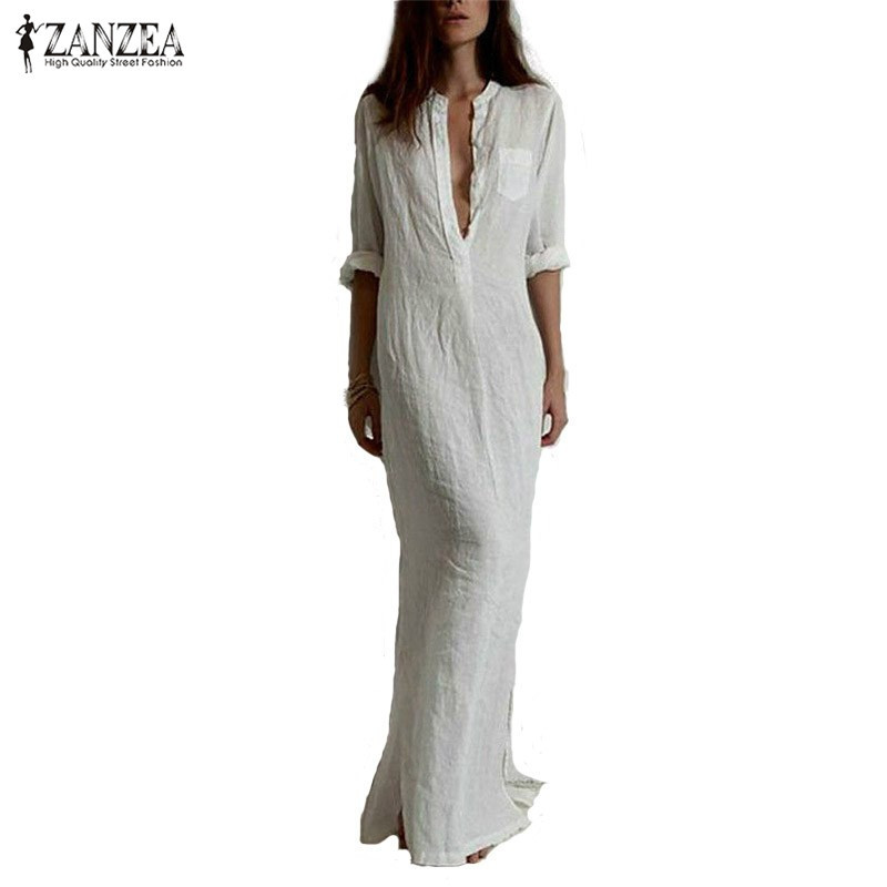 Zanzea Fashion Vestidos 2018 Höst Kvinnor Sexig Casual Dress Långärmad Deep V Neck Split Solid Long Maxi Dress