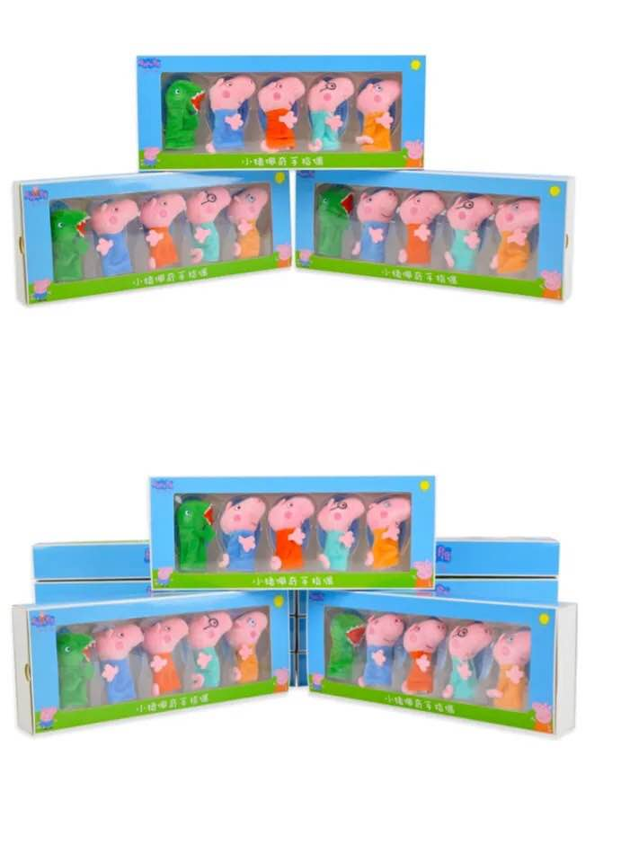 Original Box 5pcs/set Genuine Peppa Pig Finger Puppet Peppa George Dad Mum Dinosaur Family Set Kids Birthday Christmas Gift