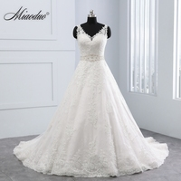 Miaoduo Vestido De Noiva New Design Ball Gown Lace Appliques Wedding Dresses 2018 V Neck Crystal Backless Sexy Wedding Gowns