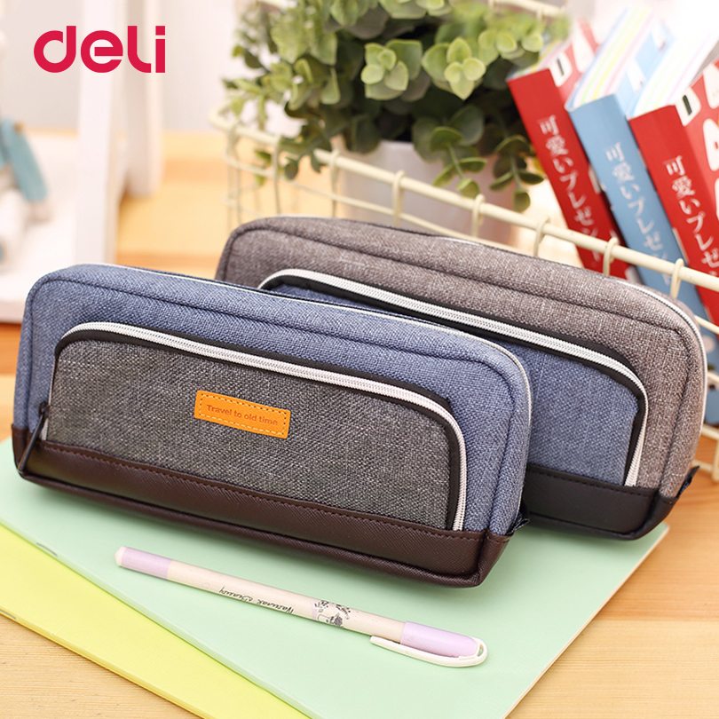 Deli fabric Pencil pen Bag box vintage student pencil case School Stationery three big pocket zipper pen case School Supply big capacity high quality canvas shark double layers pen pencil holder makeup case bag for school student with combination coded lock