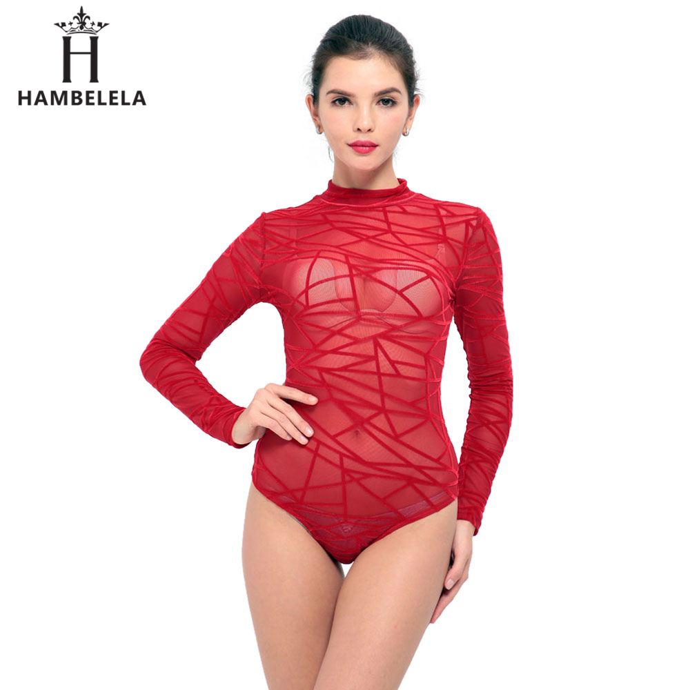 32fcee0368 HBLL IDress Black Red Blue Ladies Bodysuit Top Woman Long Sleeve Rompers  Bodysuit Macacao Body Feminino