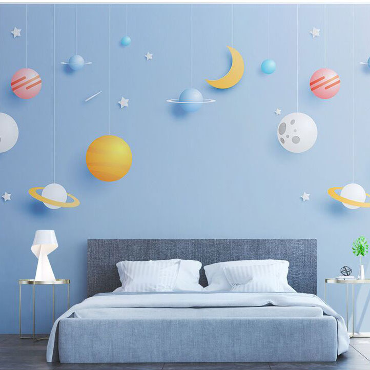 8D Mural Blue Sky Stars 3d Cartoon Wallpaper Murals for Child Baby Room 3D Cartoon Wall paper 3d Wall Photo Murals Wall stickers custom 3d photo wallpaper mural nordic cartoon animals forests 3d background murals wall paper for chirdlen s room wall paper