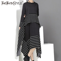 TWOTWINSTYLE Striped Lace Up Midi Dress Female Long Sleeve Irregular Black Women Dresses Clothes Fashion Vestidos