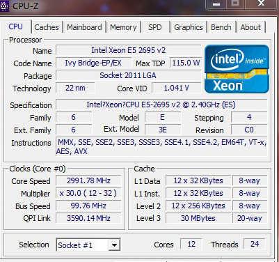 Intel Xeon CPU E5 2695 V2 QS Version E5-2695V2 12-CORE 2.4GHZ 30MB LGA2011 Processor E5-2695 V2 CPU E5 2695V2