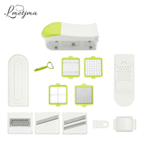 LMETJMA Multipurpose Quick Dicer Stainless Steel Vegetable Slicer Set With Cool Shop Vegetable Container Onion Chopper LK0724E
