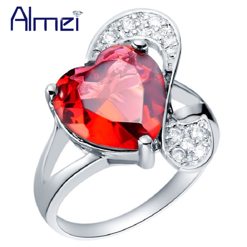 Fashion Crystal Big Stone Rings for Women Gifts Engagement Jewelry Silver Blue/Red/Purple Heart Anel On the Black Friday J090