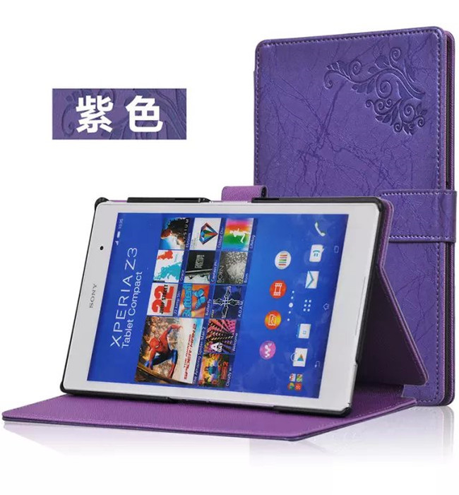 Flower Print Z3 Compact tablet Case For Sony Xperia Z3 Tablet Compact leather cover case +screen protectors