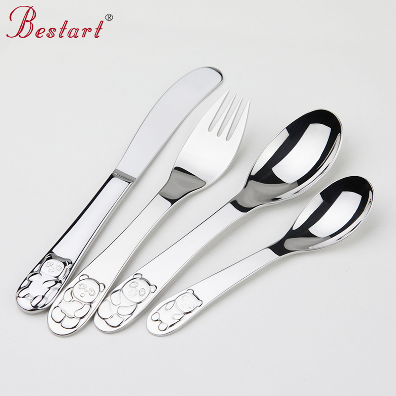 Kids Cutlery Set 18 10 304 Stainless Steel Cartoon Lovely Knife Fork Sets 1lot 4 piece