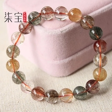 Best Natural Copper Colorful Rutilated Quartz Crystal Woman Man Bracelet Round Beads 7mm 8mm 9mm 10mm 11mm 12mm AAAAA