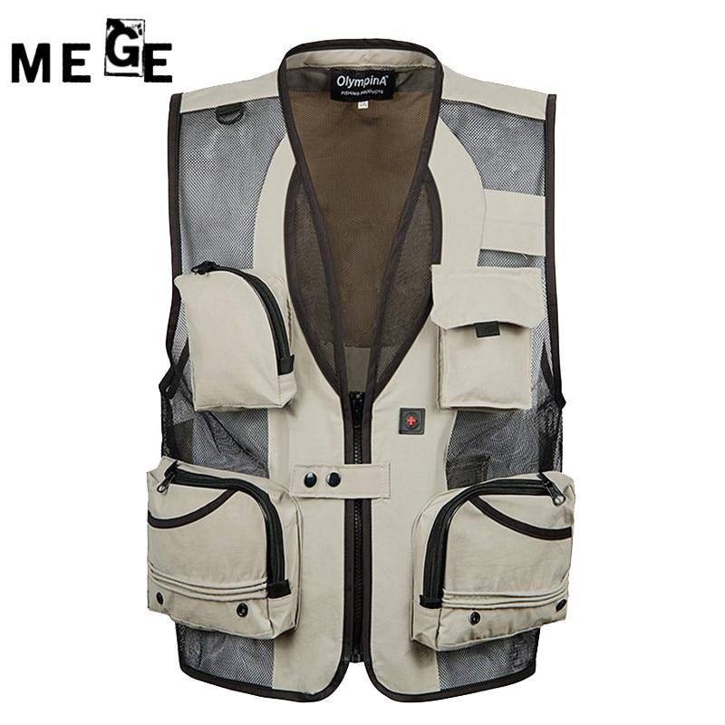 MEGE Summer Outdoor Mens Workwear Multi-pockets Vest, Photography Vest Hunting Equipment, Hunting Hiking Camping Vest