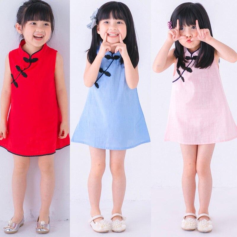 Chinese Style Baby Girls Dress Flower Print Vintage Cheongsam Kids Cotton Linen Sleeveless Dresses Party Costume Children Clothe