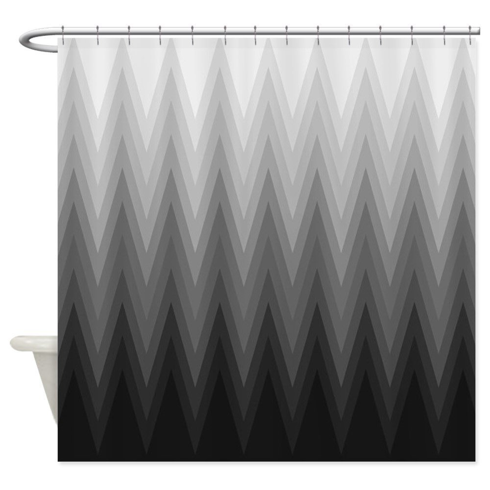Ombre Black to Grey Chevron Pattern Shower Curtain Decorative Fabric Shower Curtain For The Bathroom With 12 Hooks