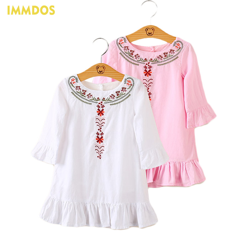 IMMDOS 2017 Autumn Baby Dress For Girl Flower Embroidery Dress Kids Clothes Girls Long Sleeve Dresses Children Fashion Clothing girl dresses winter kids dress for girls flower baby girl dresses clothes long sleeve beautiful children dresses girls new 2017