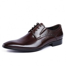 Summer British Style Pointed Toe Man Formal Dress Shoes Genuine Leather Oxfords Men's Breathable Brogue Footwear Shoes JS-A0031 цены онлайн