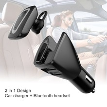 Bluetooth Headset Earphone with 2 in 1 Car Charger for iPhone 5s 6s 7 for Samsung