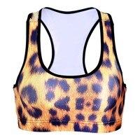 Kobiety sexy leopard print treningu fitness krótkie kamizelki bezprzewodowa underwear seamless stretch tank top hiphop miękki biustonosz