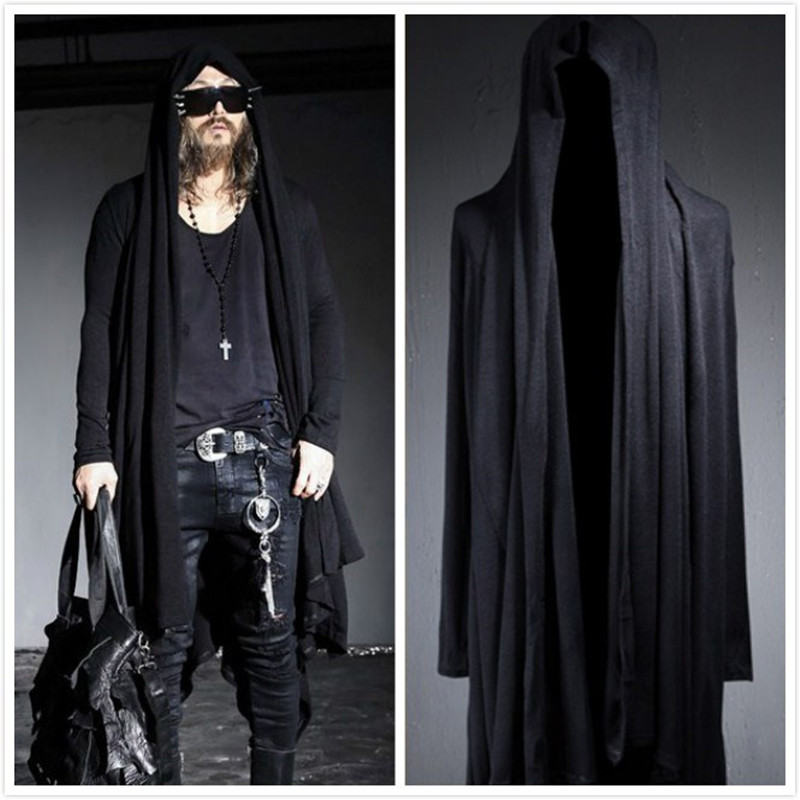 Nopnogn Autumn winter gotico punk rock trench coat long jacket cloak men hooded