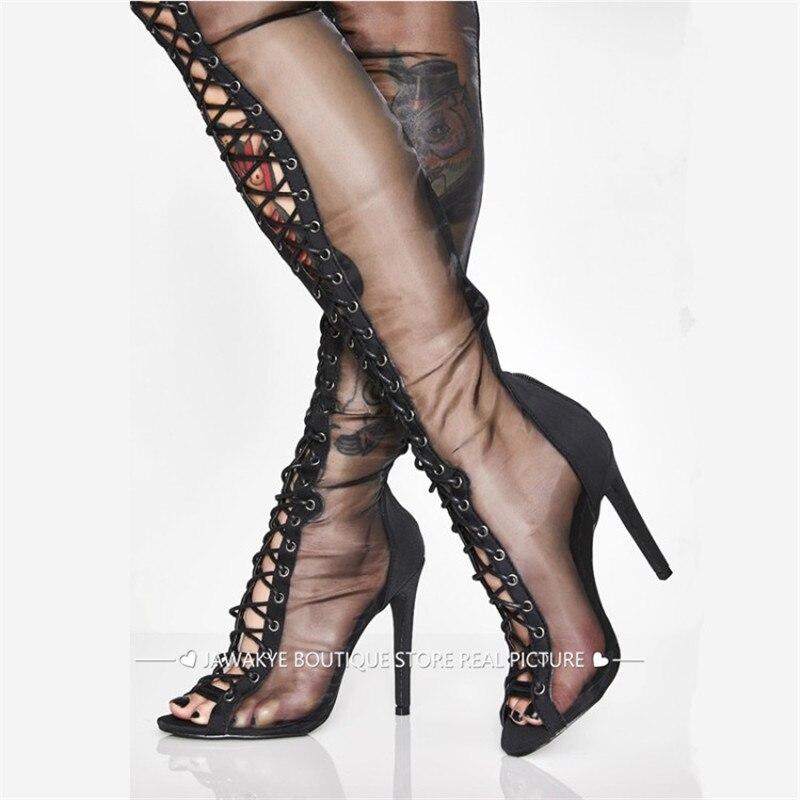 rendas até salto fino Sapatos de mulher