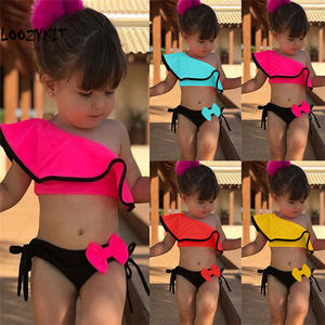 Loozykit 2pcs Kids Baby Girls Off-shoulder Bow Bikini Set Swimwear Swimsuit Bathing Suit Beach Swimming Costume Clothing 2-8Y(China)