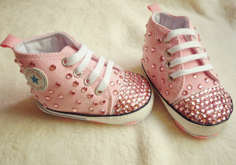 MIYOCAR handmade bling bling pink rhinestone crystal Baby Girl sports shoes Bling Diamond first Walker infant shoes princess